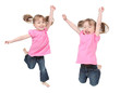 Adorable little girls jumping in air. isolated on white backgrou