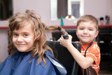 little funny children play in the barbershop - 29828032
