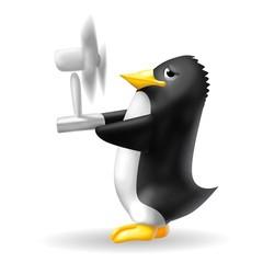 pinguino con ventilatore