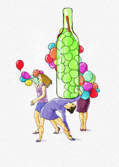 Balloons and wine