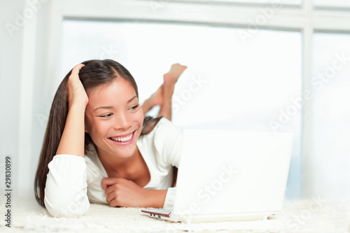 Laptop woman smiling