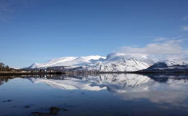 Ben Nevis,highest mountain in the UK,reflected in Loch Linnhe.