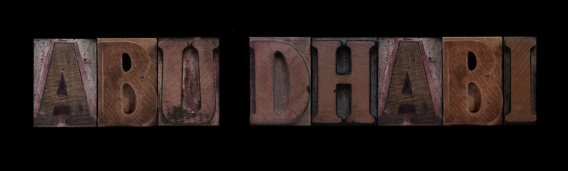 Abu Dhabi in old wood type
