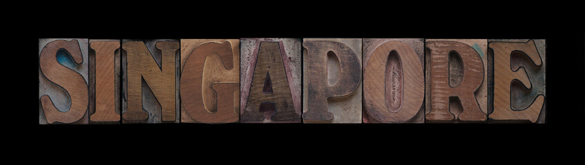 Singapore in old wood type