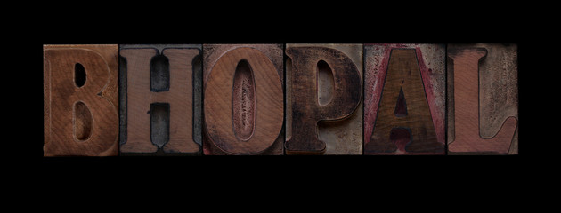 Bhopal in old wood type