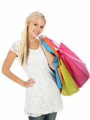 Happy and Pretty Young Shopping Woman