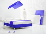 purple minimal bedroom poster