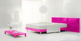 pink minimal bedroom poster