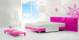 pink sunny minimal bedroom poster