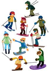 cartoon ski people icon