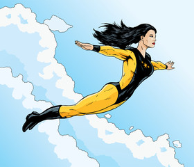 Asian superhero flying free through the clouds.