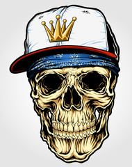 Skull with Bandana and Cap