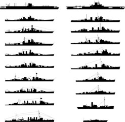 Illustration of 20 different warships in vector.