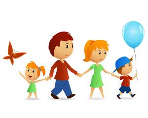 Cartoon happy family on walk