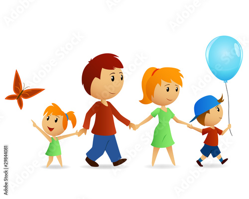 Cartoon happy family on walk