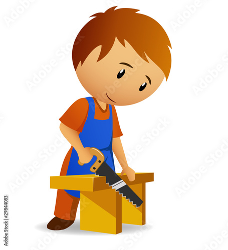 Carpenter cutting the wooden panel with handsaw