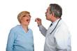 Mature doctor examine sore throat