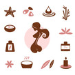 Spa and wellness icon collection - brown. VECTOR
