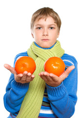 Teen Shows oranges. He tied a warm scarf.