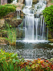 Waterfall in London park, Kew Gardens