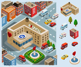 Fototapety Hospital Area Isometric Vector