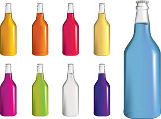set of fizzy drinnk, soda or alcopop bottles
