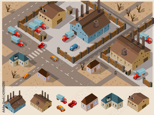 Industrial Area  Isometric Vector