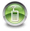 "Green Glossy Pictogram ""Cell Phone"""