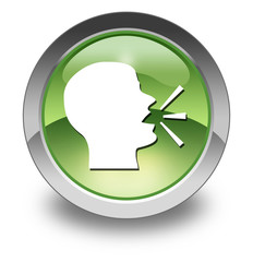 """Green Glossy Pictogram """"Talking Head / Forum / Discussion"""""""