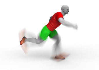 Fitness running man in motion speed