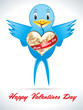 abstract blue bird with valentine heart