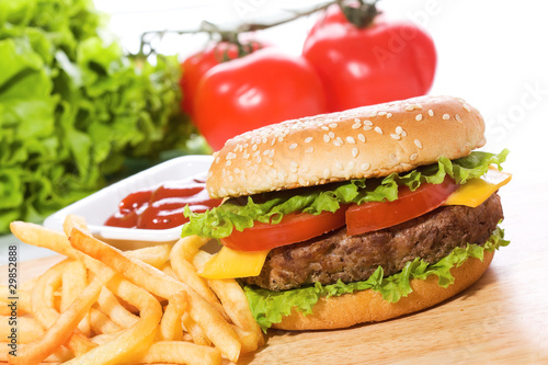 hamburger with fries and vegetables - 29852888