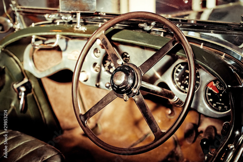 classic car steering wheel and dash abstract © Steve Mann