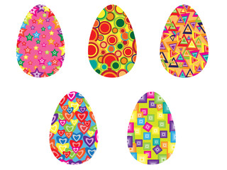 Set of five Easter eggs with ornaments