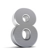 Number 8 as a brushed metal object over white