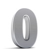 Number 0 as a brushed metal object over white