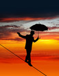 Sunset tightrope walker