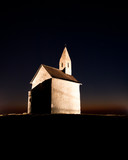 Romanesque church at night poster