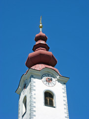 typical bell-shaped onion with a Romanian church