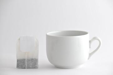 Tea bag and cup