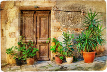 Stare greckie drzwi obrazkami