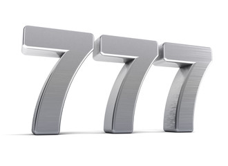 Lucky 7 - triple seven over white background