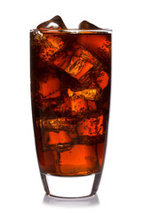 Glass of cola isolated