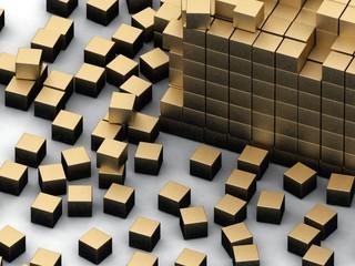 damaged assembling of gold blocks