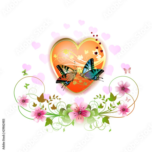 Heart decorated with flowers and butterflies for Valentine's day