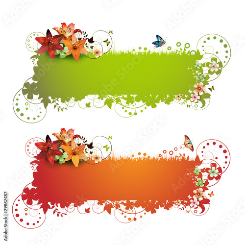Green and red background with flowers and butterflies