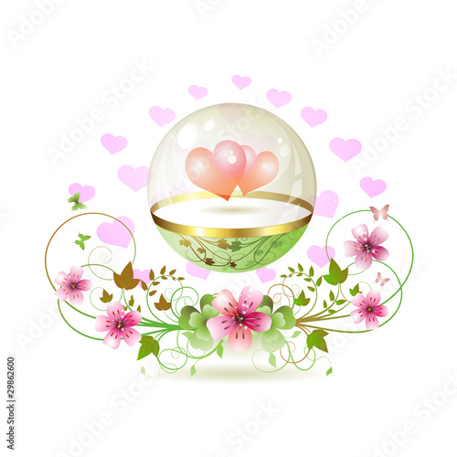 Glass globe with hearts and decorated flowers