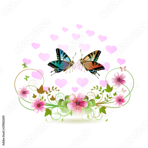 Butterflies with decorated hearts and flowers