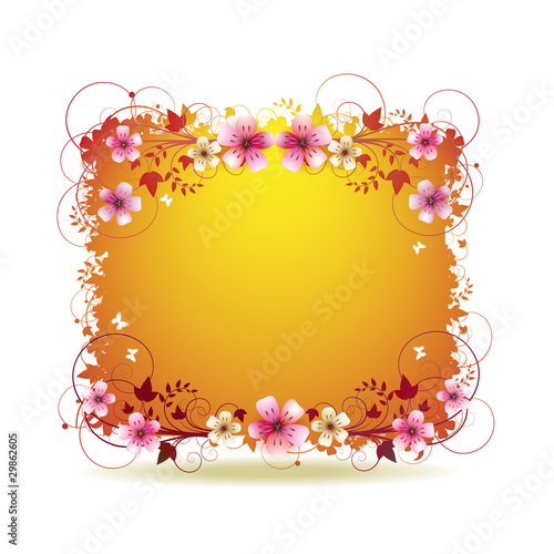 Orange background with flowers and butterflies
