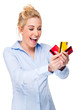 Excited Young Woman Using and Showing Bank Credit Card